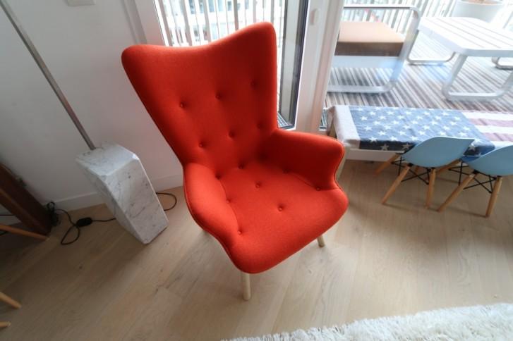 Fauteuil Contour R160 en tissu cachemire orange