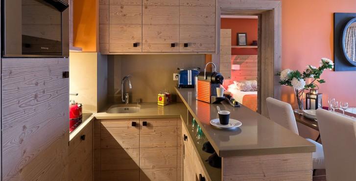 Résidence les terrasses d'Helios à Flaine - chambre avec cuisine américaine
