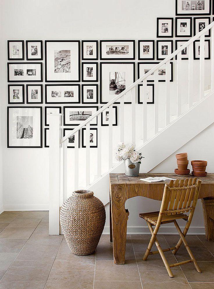 mur de tableaux dans un escalier 12 mod les recopier. Black Bedroom Furniture Sets. Home Design Ideas