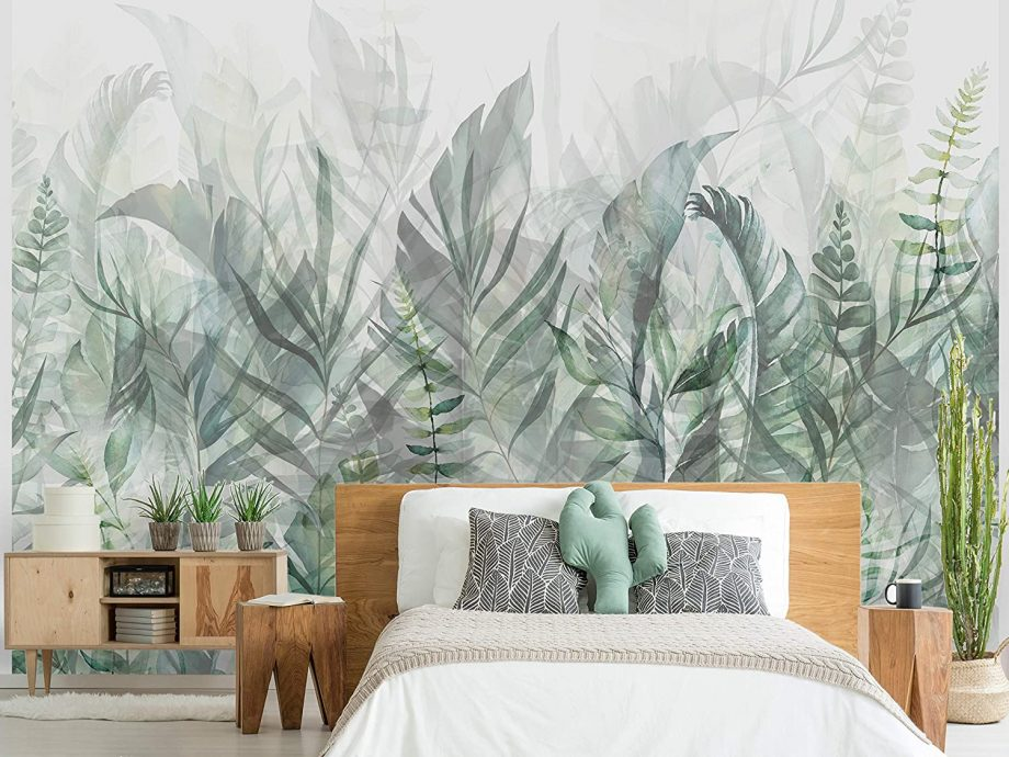 Papier-peint jungle pastel vert