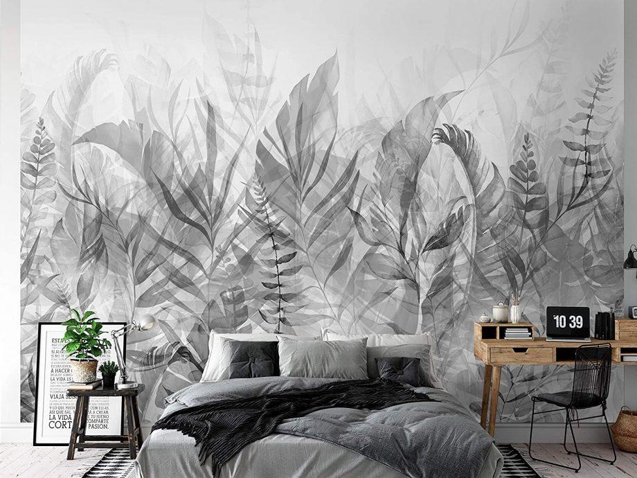 Papier-peint jungle noir et blanc