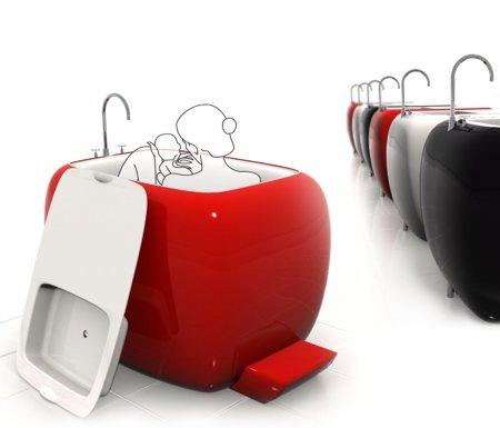 mini baignoire avec lavabo amovible. Black Bedroom Furniture Sets. Home Design Ideas