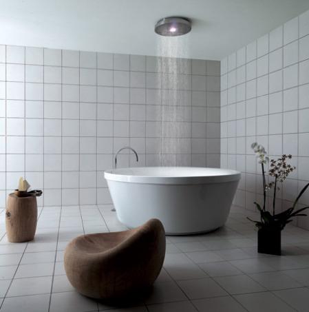 baignoire ronde avec douche sensation pluie