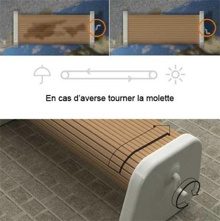 Rolling bench, banc public en bois rotatif avec une manivelle