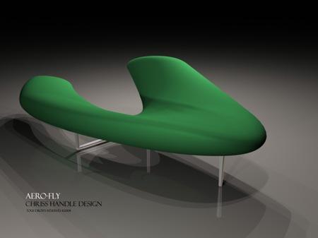 banquette aerofly en forme de boomerang - christophe soffietti