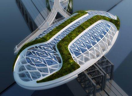 bâtiment design écologique en forme de goutte d'eau - solar drop
