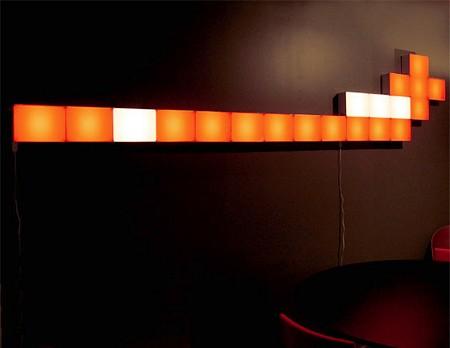 photo composition murale avec brique lumineuse modulaire Remake light