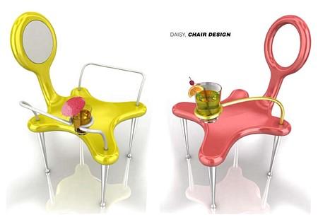 photo de la chaise design Daisy avec porte-boisson intégré