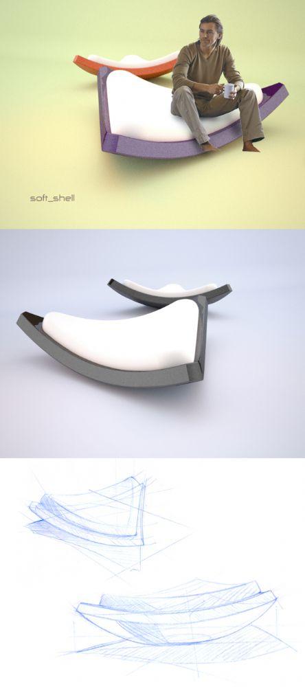photo du concept de fauteuil rocking chair lounge Soft Shell