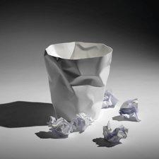 corbeille à papier froissée Bin bin blanche - John Brauer - Essey