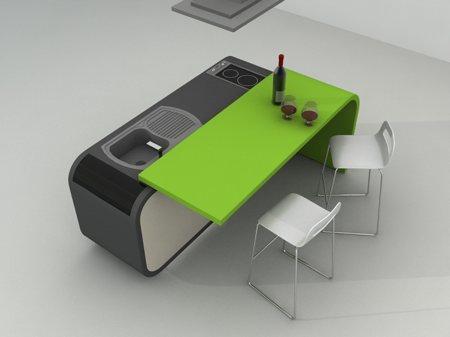 cuisine design extensible avec comptoir de bar mobile