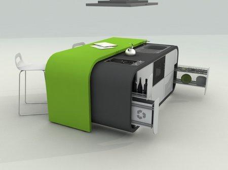 cuisine design modulable vert pomme et gris foncé