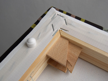 détail du cadre en bois du tableau design