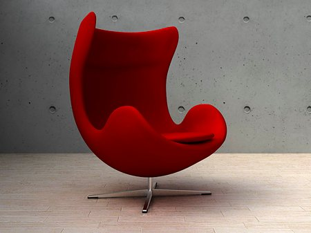 Chairs on Fauteuil Egg Chair Rouge  Design By Arne Jacobsen