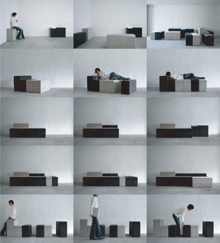 Half way sofa modulable ou canapé en kit - Teruhiro Yanagihara