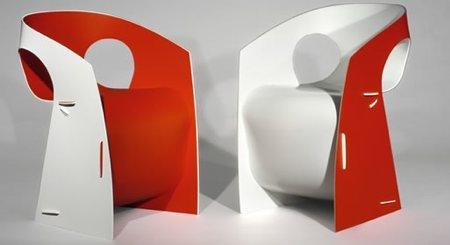 chaise en plastique i b pop chair rouge et blanche