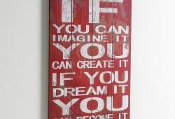 Panneau mural décoratif vintage avec une citation en anglais