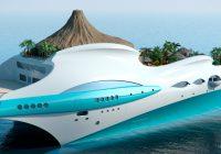 Yatch de luxe avec un volcan artificiel