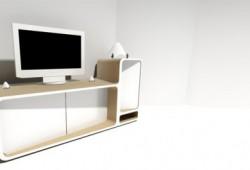 Meuble TV design en bois et corian Arthuro | Delphine Maumot