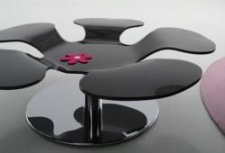 Table basse en verre en forme de fleur