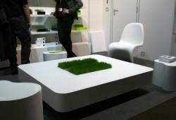 Table basse avec de l'herbe | Racine carré