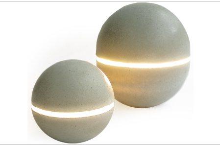 Lampe boule en b ton brut for Boule en verre pour lampe