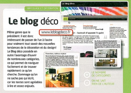 le blog déco dans les meilleurs blogs 2007 - magazine internet pratique