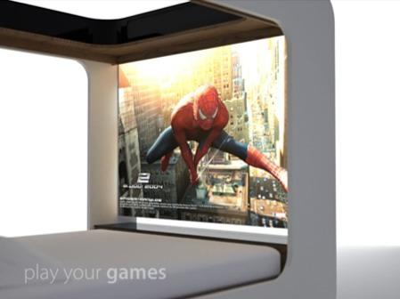 lit futuriste avec écran de cinéma intégré