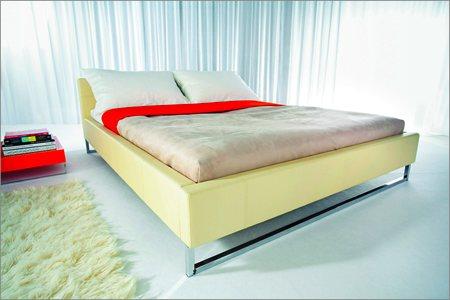 lit en cuir blanc design pas cher