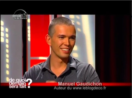 Manuel Gaudichon du blog deco dans l'émission de télé De quoi demain sera fait ?