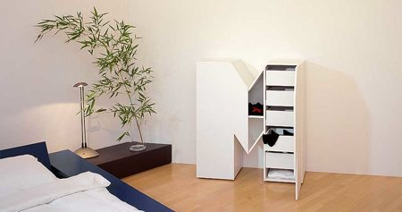 meuble en forme de lettre M avec rangement intégré - Set 26