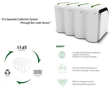 poubelle design écologique - barcode trashcan - Woo Seo Park