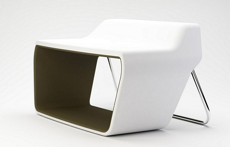 Sofa design bicolore blanc et kaki