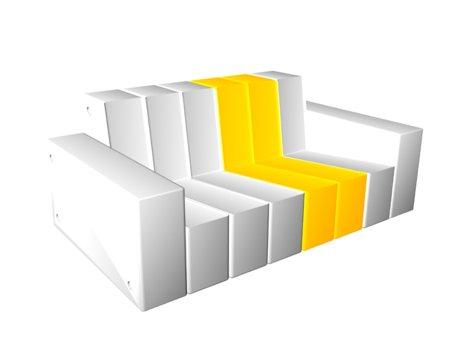 canapé modulable en mousse et aluminium blanc et jaune