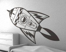 sticker mural pour enfant - fusée - E glue