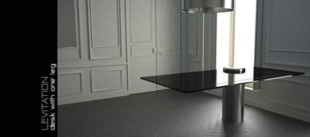 photo de la table avec un seul pied Levitation - Alexandre Boucher