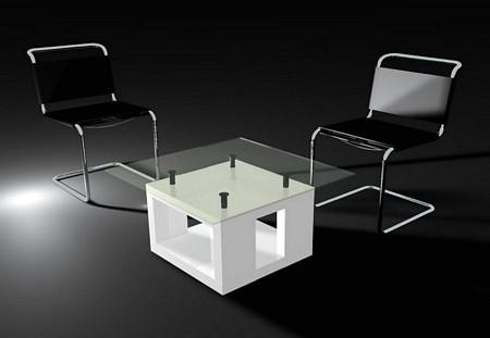 Table basse design blanche en verre et bois Orch X