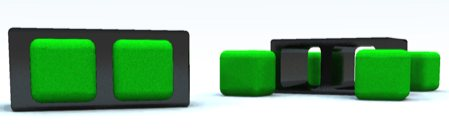 table basse noir pouf carre vert integre