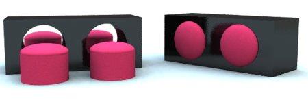 table basse noir avec pouf rond rose intégré