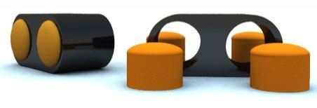 table basse noire avec poufs jaunes intégrés - Stéphane Perruchon