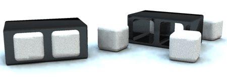table basse noir avec pouf blanc carré