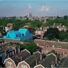 Une maison bleue posée sur le toit d'un immeuble à Rotterdam